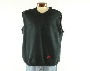 Vintage 90s Nike Vest V Neck Fleece Pullover Sweatshirt Short Sleeve T-Shirt Nike FIT 1990s XL X-Large Black Red Gym Workout