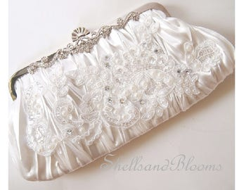Wedding Purse Pleated Satin Ruched Clutch - Bridal Ivory White - Lace applique - Glam diva Formal cruise - Pearls and Shiny Gems -