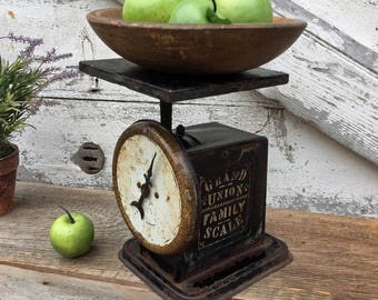 Antique American Family Scale - Grand Union Family Advertising Scale 1898- Black - Shabby Kitchen Scale