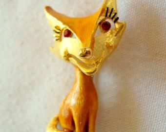 Vintage Signed J J JONETTE Enamel & Gold Tone Comical FOX Pin BROOCH with Red Eyes