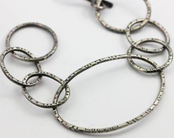 Sterling Link Bracelet, Textured Link Bracelet, Organic Silver Links, Statement Link Bracelet, Unisex