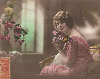 Antique French Tinted Photo Postcard Pretty Edwardian Woman with Flowers from Vintage Paper Attic