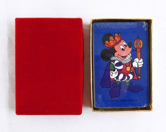 Vintage 1980's Disney Mickey Mouse King Mickey Blue Playing Cards Deck 2