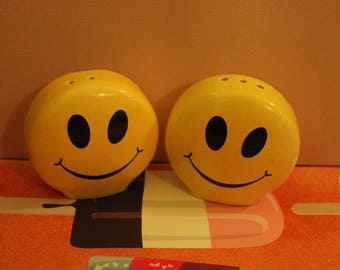 Vintage Yellow Smiley Face Salt & Pepper Shakers