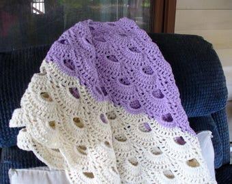 Purple and White Shawl