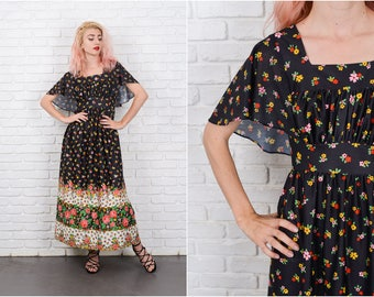 Vtg 70s Black Maxi Dress Colorful Floral Print Vivid Angel Sleeve Boho Hippie XS 9727