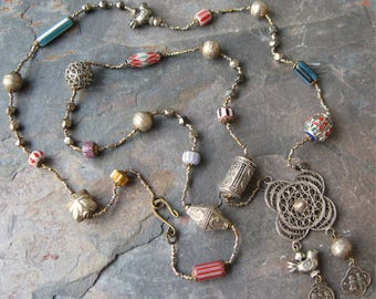 Bohemian Beaded Assemblage Necklace Made from Vintage Components Mixed Metals Chevron Beads OOAK
