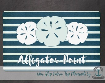 Alligator Point Placemat | Sand Dollars and Stripes | Anti Skid/Non Slip Fabric Top Rubber Backed Awesomeness