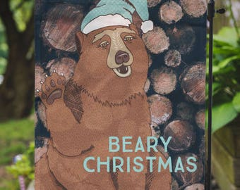Christmas Flag |  Beary Christmas | Lodge Cabin Christmas | Garden or Large House Flag | Size via Dropdown | Convo for Custom