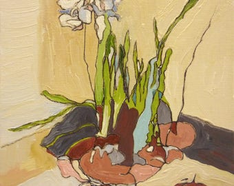 Abstract Still life Oil Painting on Canvas Paperwhites Flowers
