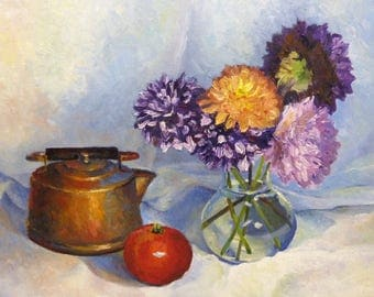 Dahlia's Original Still Life Oil Painting on Canvas