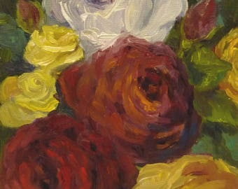 Small Original Oil Painting on Canvas  A Rose of Many Colors