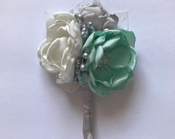 Mint, Cream and Silver Boutonnière - Groom, Male, Masculine, Father of the Bride, Bestman, Groomsmen, Fabric Wedding Flowers, Usher, Forever