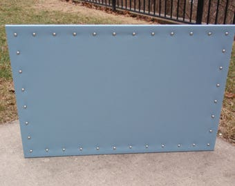 "PinBoard Corkboard Cork Bulletin Message Pin Dream Escort Card Board 23"" x 35"" size Spa Blue Solid Fabric with Your Choice of Nail Head Trim"