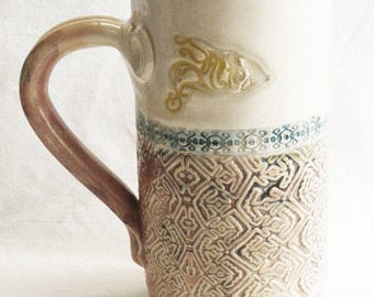ceramic seaside coffee mug 20oz  stoneware 20D033