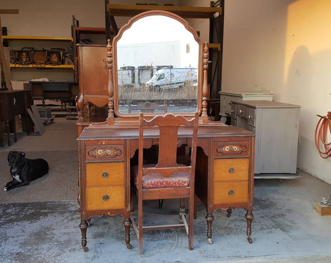 PICK UP ONLY, Vintage vanity,with mirror & chair, painting inc. french, france bedroom, make up table, dressing table, shabby chic, country