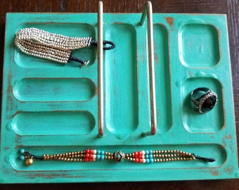 Hand Pianted Teal Wooden Jewelry Valet