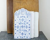 Vintage Ironstone Cutting Board, Onion Board, Cheese Board, White Ironstone Tray, French Country Kitchen, Blue White Ceramic