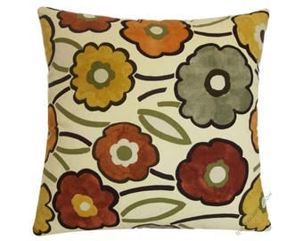 Fall Pia Flower (Orange/Yellow/Green/Brown) Decorative Throw Pillow Cover / Cushion Cover / Cotton / 18x18""