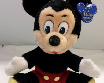Vintage Disneyland Walt Disney World Mickey Mouse Stuffed Toy Made in Korea With Original Tag