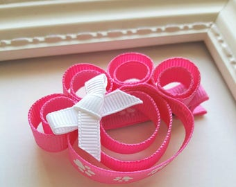 Paw Print Ribbon Sculpture Hair Bow - Pink & White - Unique Paw Patrol Gift or Birthday Party Favor