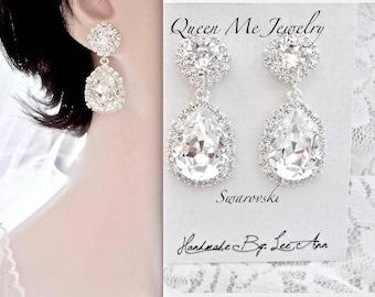 Swarovski crystal earrings, Halo crystal wedding earrings,Brides earrings, Crystal earrings , Crystal Bridesmaids earrings,  SOPHIA