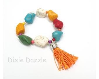 Orange Tassel bracelet, multicolor bracelet, howlite, bright colors, colorful jewelry, stretch bracelet, tassel charm, summer style