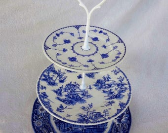 Blue and White China Tiered Dessert Stand, China Stand