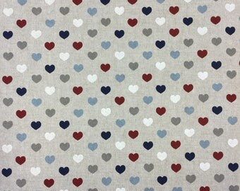 Hearts multicoloured print on linen effect cotton by the metre