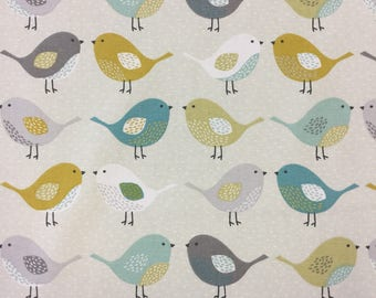 Fryetts Scandi Birds Ochre cotton print by the half metre