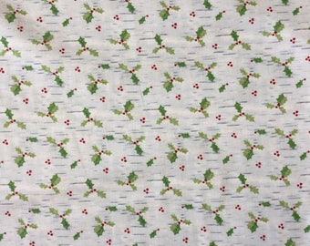 Gina Linn Christmas Woodland 7245 Holly Sprigs on blue cotton by the half metre