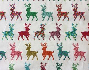 Makower 1492 Festive Reindeer 100% cotton fabric by the half metre