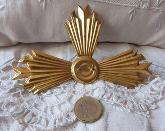 Antique French statue halo crown tiara religious crown virgin or jesus statue sunburst halo crown 1900s gilded saint starburst halo crown
