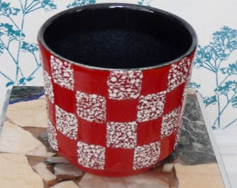 Planter - West German Pottery - Mid Century - Checkered Red and White
