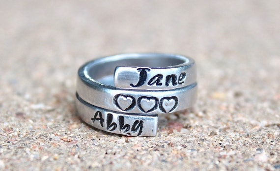 Mother Ring, Names of Child ring, Gift for Mother Ring, Name Wrap Ring, Name of children and hearts wrap ring