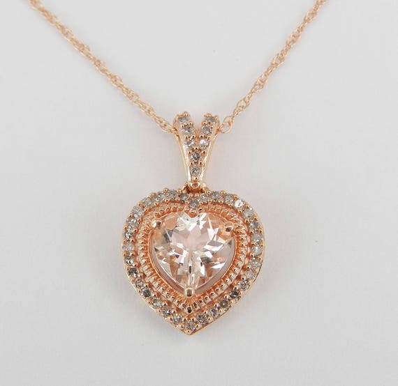 """Diamond and Heart Morganite Halo Pendant Necklace 18"""" Chain Rose Pink Gold Wedding Gift"""