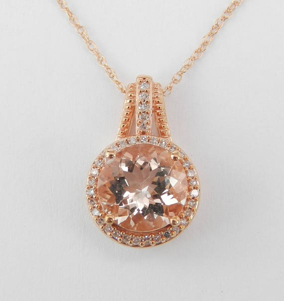 "2.20 ct Diamond and Morganite Round Halo Pendant Necklace Rose Gold Wedding Gift 18"" Chain"