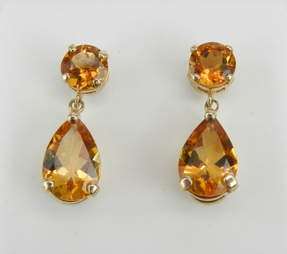 Yellow Gold Citrine Drop Earrings Wedding Gift Pear Shape Teardrop
