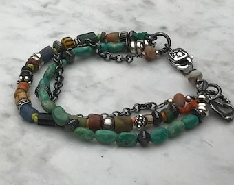 Multi Strand Bracelet - African Trade Beads - Oxidized Rolo chain - Turquoise - Sterling Silver - Boho Artisan Sundance Style