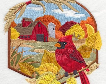 Country Autumn - Cardinal and Barn Embroidered on Plain Weave Cotton Dish Towel //  Iron-on Patch // Kona Cotton Quilt Block