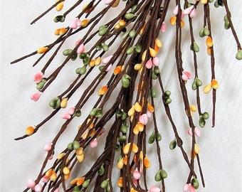 "WREATH SALE Spring Berry Garland - 55"" Yellow, Pink & Green Pip Berry Garland - Primitive Country - Summer Garland - Craft Supply - Farmhous"