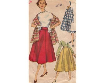 Simple to Make 1950s Misses Flared Rockabilly Skirt and Stole Simplicity 1462 Waist 28 Flared Skirt