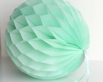 Mint tissue paper honeycomb ball - Bridal Showers / Weddings / Birthday and Party Decorations-baby bridal shower