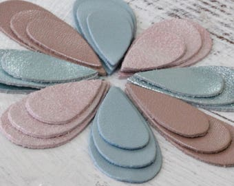 24pcs  Metallic  Leather Teardrops,  Blue and Pink Shades , Pastel Tones