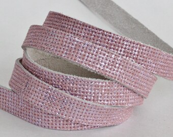 10mm Light Pink  Leather Strap, Metallic Genuine Genuine Leather 1 Yard