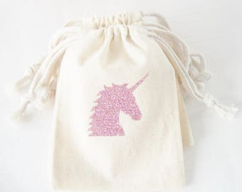 Unicorn Party Favor Bag, Unicorn Birthday, Rose Gold Glitter Unicorn, Unicorn Birthday, One of a Kind Party, unicorn tote bag