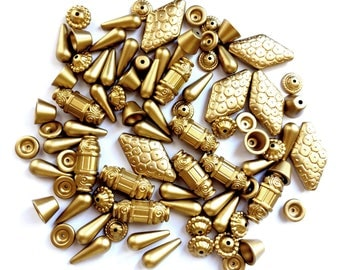 Assorted Vintage Beads, Over 80 Pieces, Metalized Acrylic Beads, Matte Gold, Jewelry Making Suppies, 10-32mm, B'sue Boutiques,Item03217