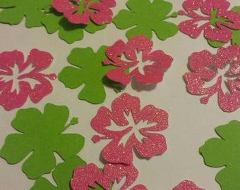 Luau Birthday party Table decor confetti Hawaiian Hibiscus flower Tropical Luau or Flamingo table decor