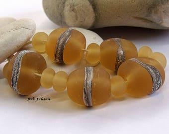 Amber Summer Stones, Lampwork Pebble Beads, SRA, UK