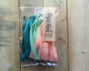 Paper Tassels - Party Decor - Tassel Garland - 12 Tassels - Teal Mint Green Peach Paper Tassels